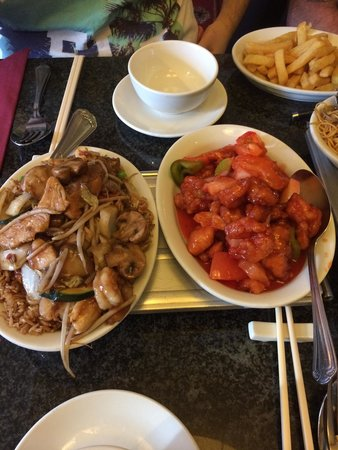 China Red at the Coach and Horses: Special fried rice, Hong Kong style sweet and sour, soft noodles and chips