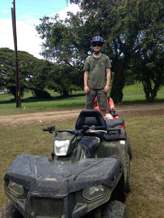 Gecko's Island Adventures: 10 year old son rode on the back of my ATV