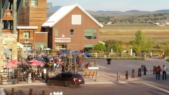 Newpark Resort & Hotel: view of some of the restaurants from our patio