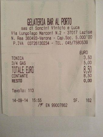 Gelateria Bar Al Porto: SCONTRINO FISCALE DI AVVENUTO FURTO LEGALIZZATO