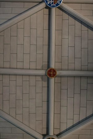 """St. Michael's Parish Church: """"Restored"""" plaster ceiling painted to look like planks or bricks."""