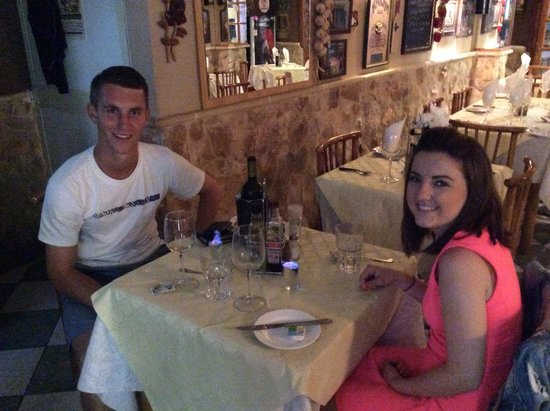 Enjoying a meal at Bugies