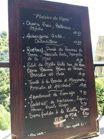 La Cave de Tourrettes: Menu that day