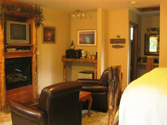 Carson Ridge Luxury Cabins : Chairs and coffee area - Fishing Creel Cabin