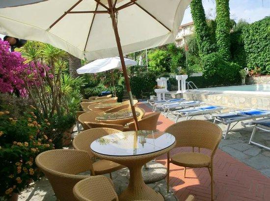 Bellavista: Tavoli, ombrelloni dietro i lettini della piscina