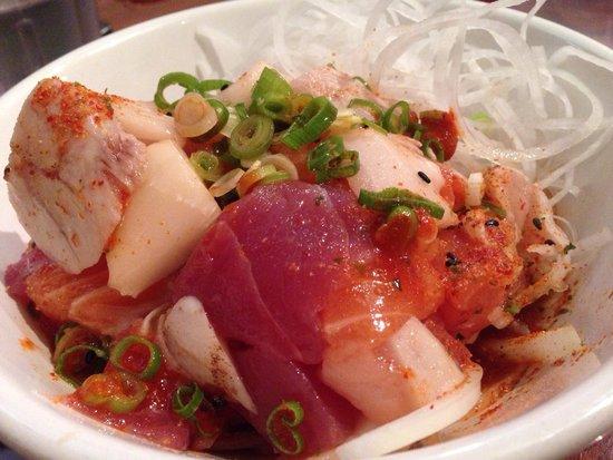 Sen Dai Sushi : Hawaiian Poki Salad - hawaiian-style spicy assorted sashimi salad.  $11 Delicately seasoned -