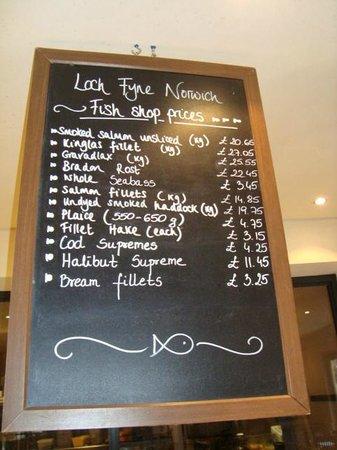 Loch Fyne: Los precios