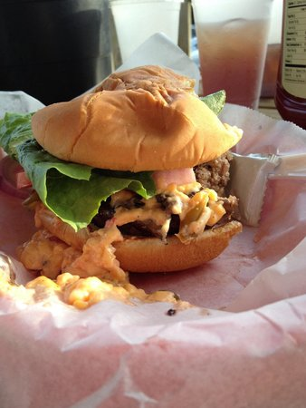 McConkey's Jungle Shack : Burger with pimento cheese and mushrooms