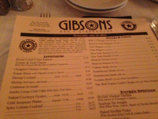 Gibsons Bar & Steakhouse: menu