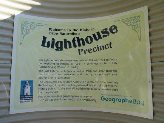 Cape Naturaliste Lighthouse: Info about the precinct