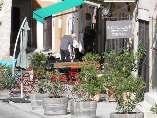 Hotel Restaurant l'Arbre de Mai: To the patio for a glass of wine.