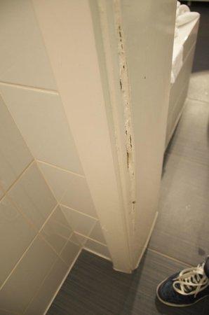 Hostellerie La Cheneaudiere - Relais & Chateaux: joint de porte défoncé dans les wc