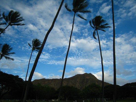 Kaimana Beach: ビーチから ダイヤモンドヘッド