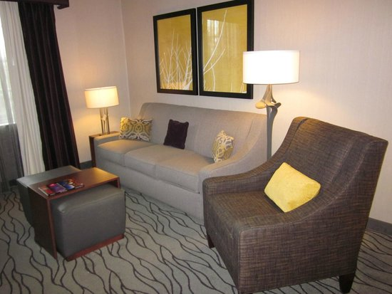 Homewood Suites by Hilton Buffalo-Airport: Living Room w/ TV & Fireplace