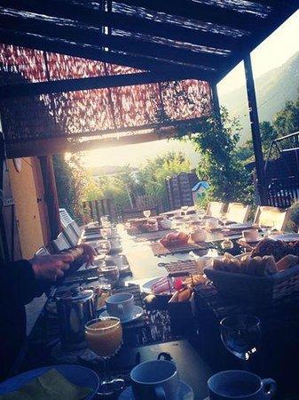 Le Jardin des Gorges: table du petit déjeuner en terrasse