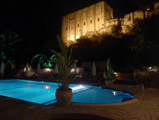 Hotel Bellapais Gardens: Bellapais Abbey from hotel pool/dining area