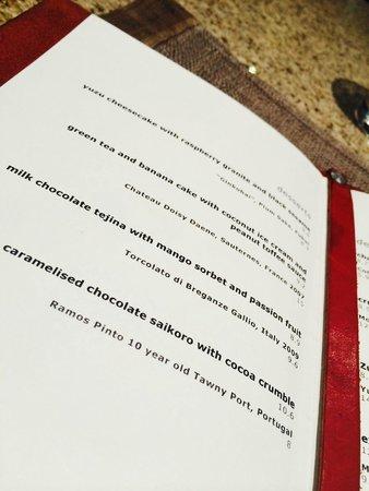 Zuma: Carte des desserts