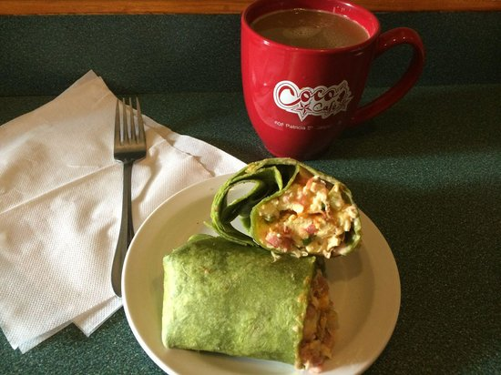 Coco's Cafe: Scrambled Wrap & Coffee