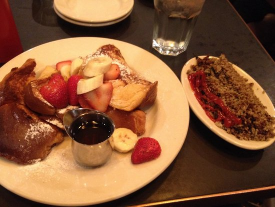Zaftigs Delicatessen : Challah French toast and turkey hash