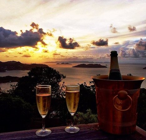 Marigot, St. Barthelemy: View of the sunset from the pool