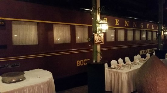 DiSalvos Station: Exterior view of the train car, area was set up for a wedding