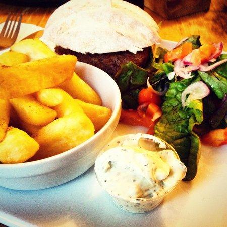 The Heights Bar & Kitchen: Luke warm lamb burger and chips