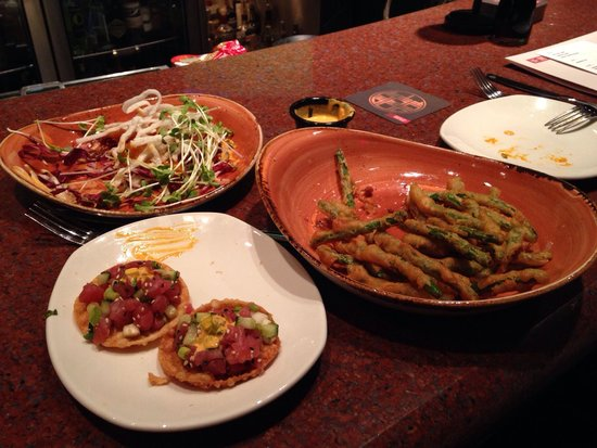 P.F. Chang's : Dynamite shrimp, ahi tartare & crispy green beans for happy hour. All delicious!