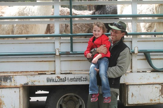 Wild Earth Llama Adventures: Our daughter with the most wonderful tour guide, Stuart!