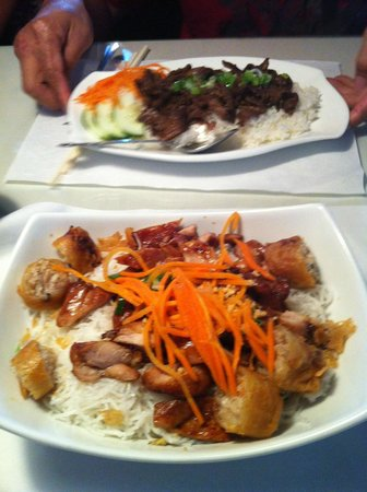 Mekong Authentic Vietnamese Cuisine : grill beef with rice and grill chicken in vermicelli
