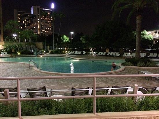 Rosen Plaza Hotel: the outside pool at night.