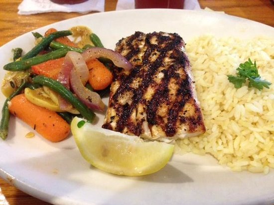 Shells: Grilled Grouper Dinner w/ veggies and rice