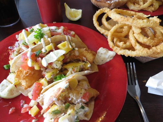 Boston's Fish House: My delicious fish taco and onion rings.  I want some now!