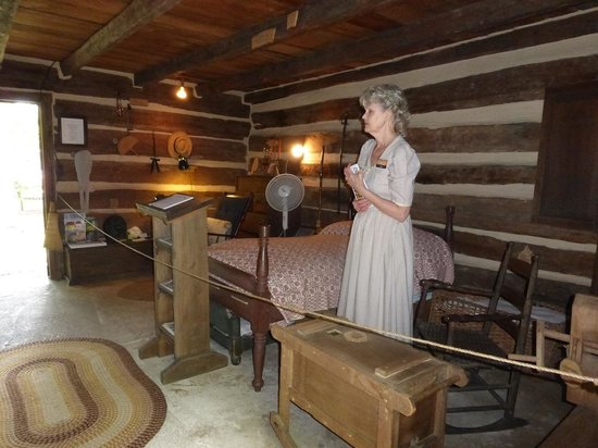 Historic Ogle Log Cabin Left Side & Tour Guide