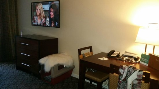 Homewood Suites Seattle Convention Center Pike Street : big screen tv and business desk