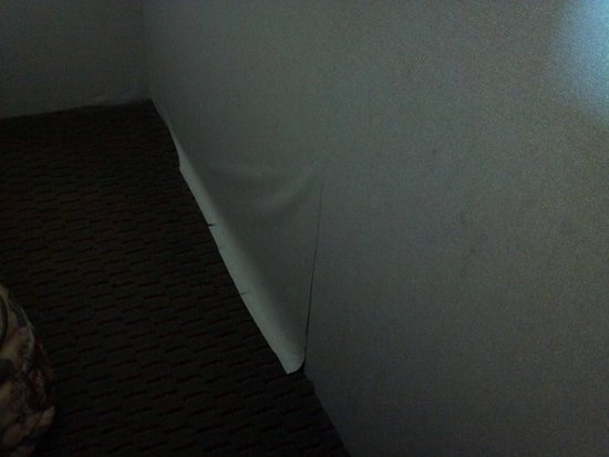 Days Inn Sturgis: Peeling Wallpaper and stuff spilled down wall