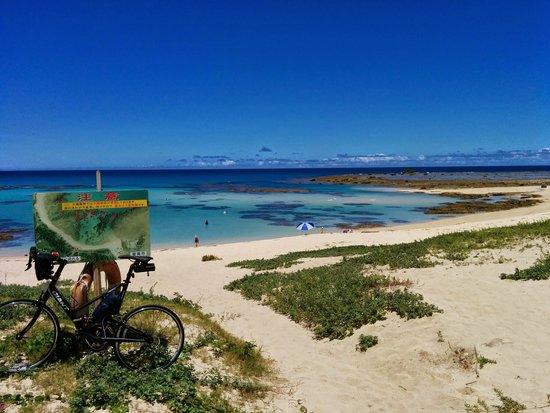 Tomori Beach : 土盛海岸をバックにチャリを記念撮影です