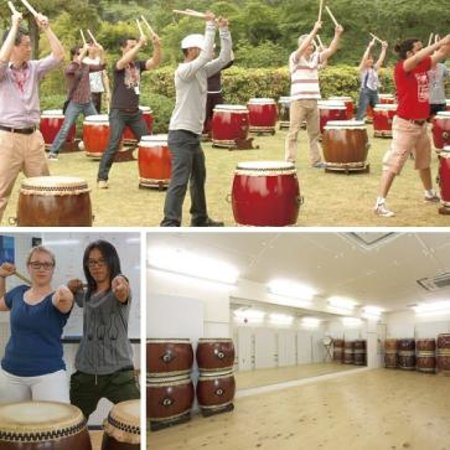 Nakagyo, Japan: Taiko drumming class for foreign tourists