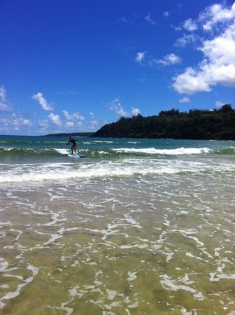 Kauai's North Shore Surfing School : One of the girls riding a wave