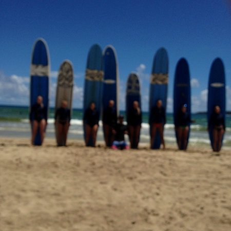 Kauai's North Shore Surfing School : The girls lined up after the lesson
