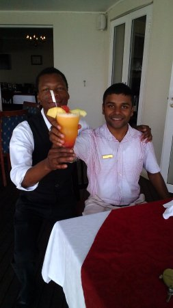 The Boathouse: Kyle and Jabu with his Number 8 breakfast cocktail