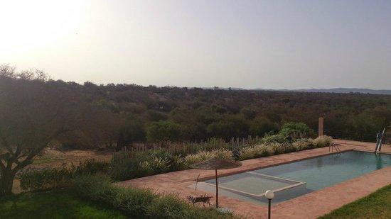Dar Essaada: Vistas de la piscina desde la zona del desayuno