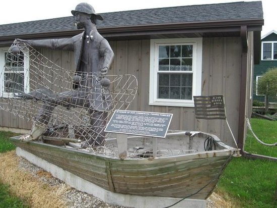 Rogers Street Fishing Village: A display near the entrance, from the sidewalk