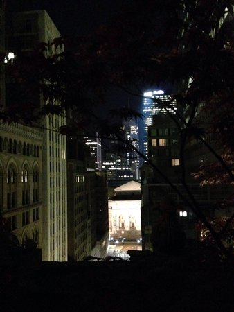 Library Hotel : View of the NY public library from hotels rooftop at night
