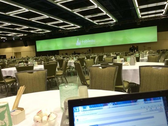 Washington State Convention Center: The expo center for breakfast with a giant display