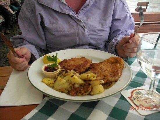 Goldener Bar : The plate of Schnitzel