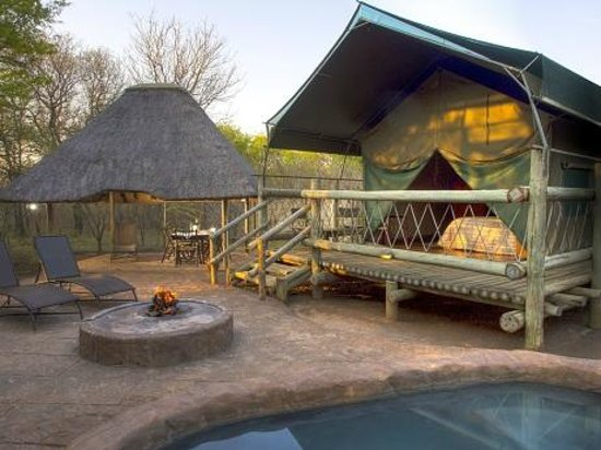 Jackalberry Ridge: Tent with lapa and braai area