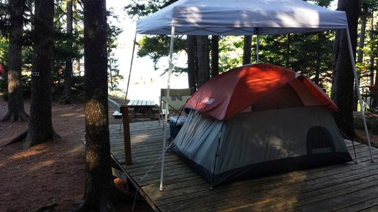 Mount Desert Campground: Our site set up