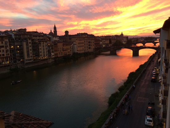 View of sunset form our room at Continentale Hotel in Florence