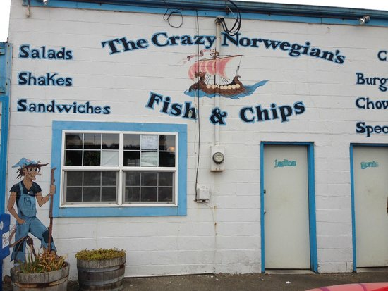 "The Crazy Norwegian's Fish & Chips : The ""shack""-restaurant's front"