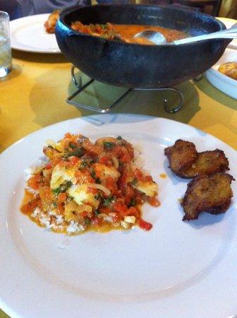 Moqueca Brazilian Cuisine: Moqueca with rice & fried plantains